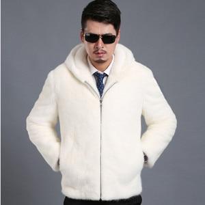 Image 3 - 2018 New Suede Coat Mens Trimmed Mens Mink Fur Hooded Lapel Jacket Mens Large Size S XXL XXXL 4XL 5XL Jacket Artificial Fur