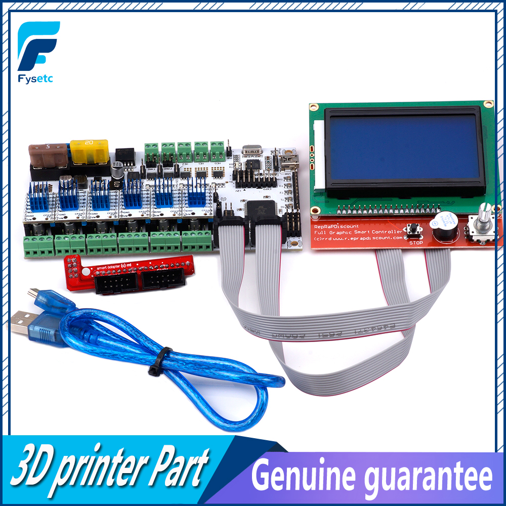 Rumba Plus Motherboard Rumba+ Board Support 3pcs Extruder + 12864 LCD Control Display + 6pcs TMC2100 V1.3 Stepper Motor Driver силвадепрекс 30 капсулы