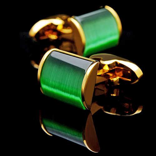 KFLK cuff botão jóias 2019 camisa abotoaduras para mens Marca Verde casamento abotoaduras abotoaduras de Ouro de Alta Qualidade Jóias