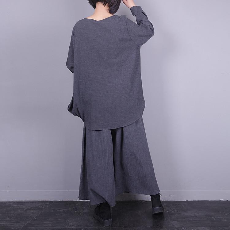 Automne Pantalon Superaen Large Mode Poche Nouvelle De Femmes Et Printemps Tops Définit Col L'europe Pluz Black grey Jambe Rond 2018 Deux Taille Pièces q6qvpaxEWr