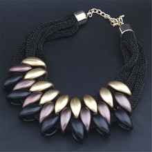 Fashion Charm Statement Necklaces Pendants Vintage Choker Collar Ethnic Black Gold 2017 New Maxi Pendants necklace women jewelry