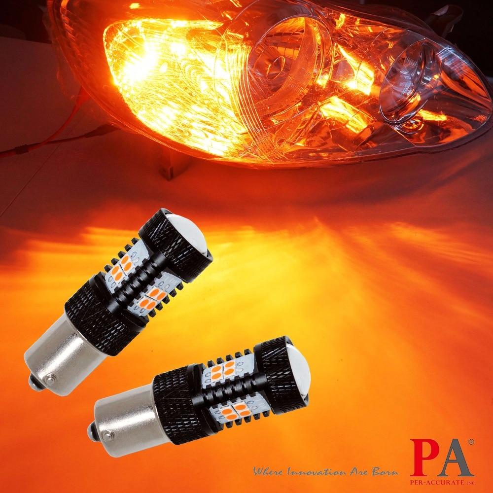 PA LED 2pcs x Amber Yellow High Power 3030 14 SMD LED Turn Signal Light Bulb BA15S 1156