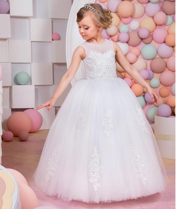New Lace Ball Gown White Long Flower Girls Dresses Kids Sequins Wedding Elegant Party Dress First Communion Princess Dresses white laser cut flower lace elegant wedding invitations envelope blank paper invitation card kit printing inside cards convite