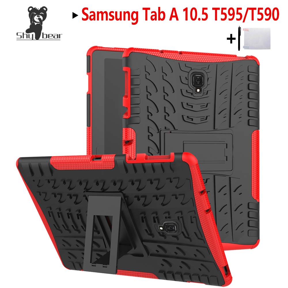 Shy Bear TPU+PC Case For Samsung Galaxy Tab A 10.5 T595 SM-T590 T597 Tab A T595 10.5 Heavy Duty 2 in 1 Hybrid Rugged Case+gifts 2 in 1 detachable protective tpu pc back case cover for samsung galaxy note 4 black