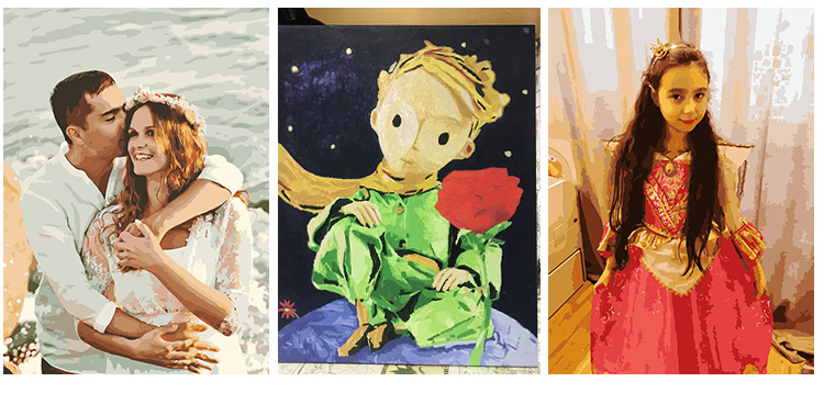 Photo Customized Painting by Number DIY Oil Painting By Numbers Picture Drawing Canvas Coloring by Numbers Family Photos