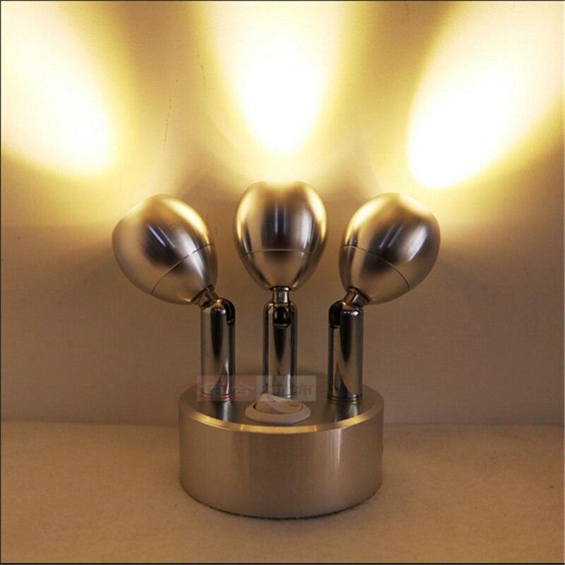 Бесплатная доставка 3*1 Вт/3*3 Вт подзарядки светодиодные лампы, аккумуляторная батарея Wireless Display, переключатель 360 градусов Тройная лампа