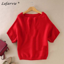 Lafarvie Hot Sale Quality Casual Cashmere Blended Slash Neck Half Sleeve Loose Sweater Knit Wonen Pullover 6Color S-XL