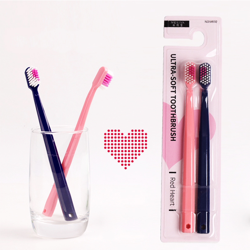 Hot Sale 2pcs/set Couple Heart Shape Toothbrushes Ultra Soft Professional Oral Care Cleaning Toothbrush Family Toothbrush Set