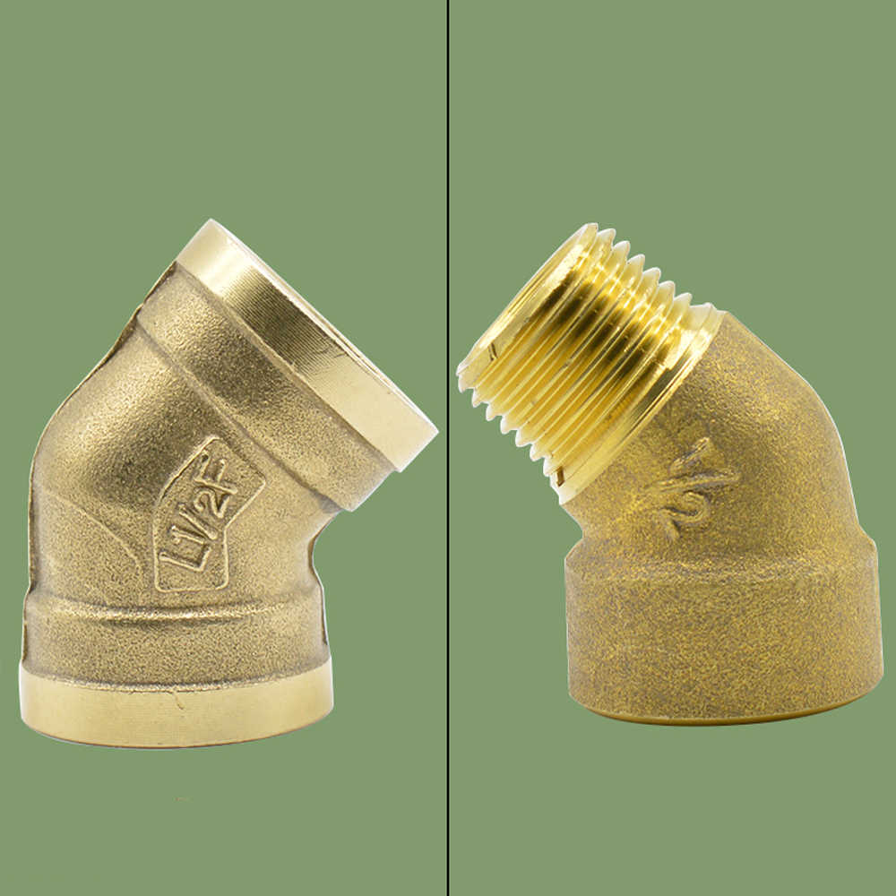 "1/2"" BSPP Euqal Female Brass 45 Degree Elbow Pipe Fitting Coupler Connector Water Gas Oil"