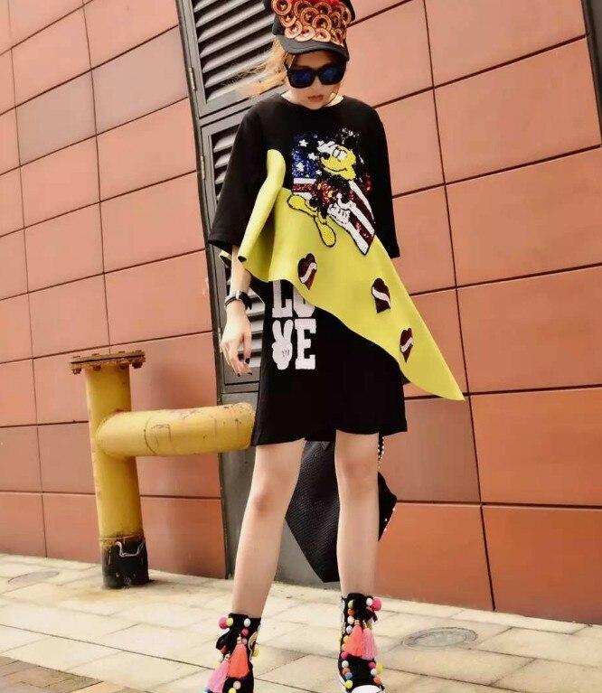 2019 Nouveau Printemps et En Été Femmes Bande Dessinée Paillettes Lettres Couture Chemise Robe Étudiant Filles Personnalité décontracté Sweat Robe