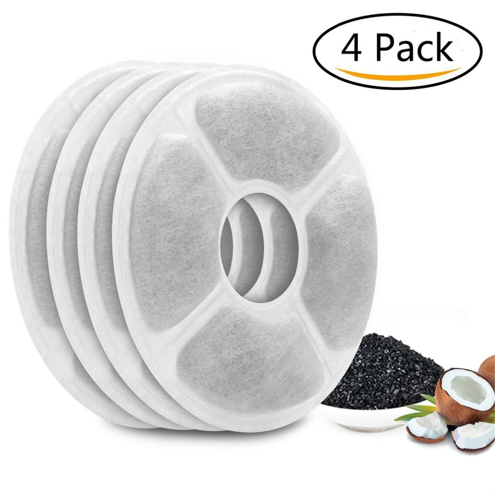 4 Packs Activated Carbon Replacement Filters Pet Fountain Automatic Flower Water Charcoal Filters Dispenser Compatible Cats Dogs