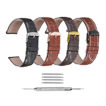 iStrap Watchbands Genuine Leather 12 14 16 18 19 20 21 22 24mm Pin Buckle Band Steel Strap Wrist Belt Bracelet + Tool