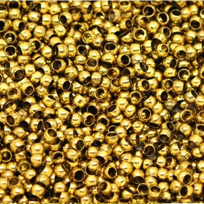 2000 Golden Plated Brass Round 2.0mm Crimp End Beads Jewelry Finding
