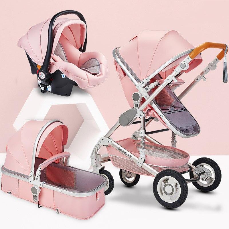 Multifonctionnel 3 en 1 bébé poussette haute paysage poussette pliante chariot or bébé poussette nouveau-né poussette - 3