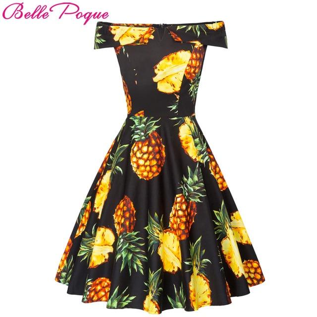 fc8b6b0bc8 2018 Kobiety Off Ramię Bawełniana Sukienka Damska Ananas Druku szata  Vintage 50 s Wzburzyć Swing Rockabilly