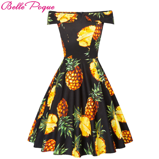 83aaeeea925 US $31.18 |2018 Women Off Shoulder Cotton Summer Dress Ladies Pineapple  Print robe Vintage 50s Rockabilly Ruffle Swing Retro Party Dresses-in  Dresses ...
