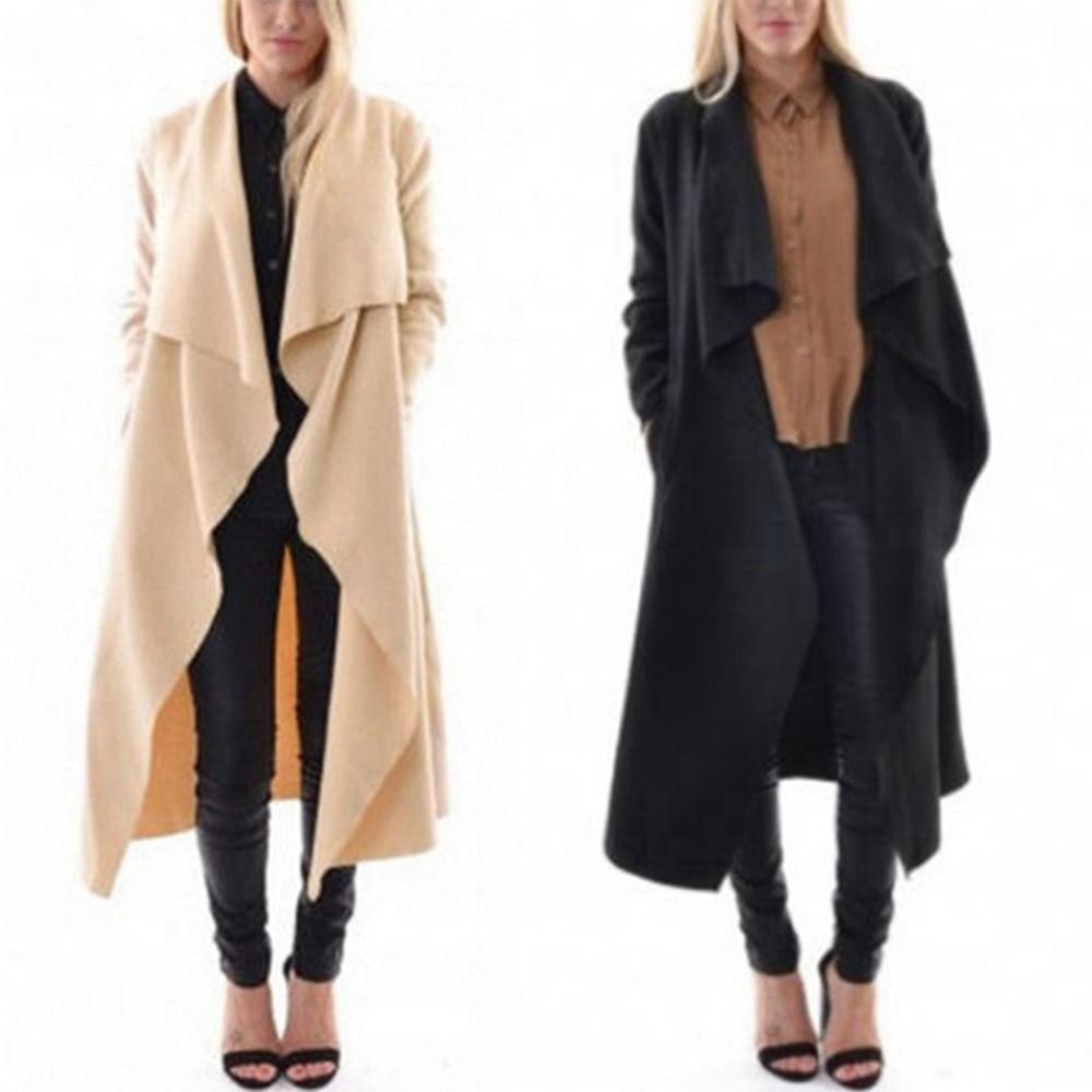 Fashion Women Long Sleeve Draped Trench Coat Waterfall Fallaway ...