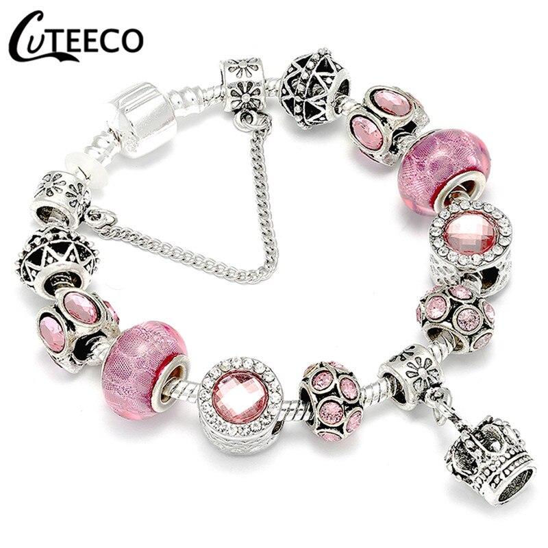 CUTEECO 925, модный серебряный браслет с шармами, браслет для женщин, Хрустальный цветок, сказочный шарик, подходит для брендовых браслетов, ювелирные изделия, браслеты - Окраска металла: AE241