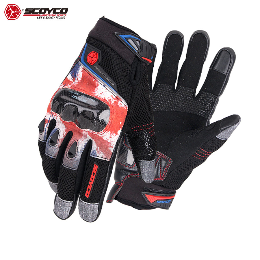 SCOYCO 2019 Touch Screen Motorcycle Gloves Carbon Fiber Knuckle ATV glove Vintage Breathable Safety Outdoor Motocross