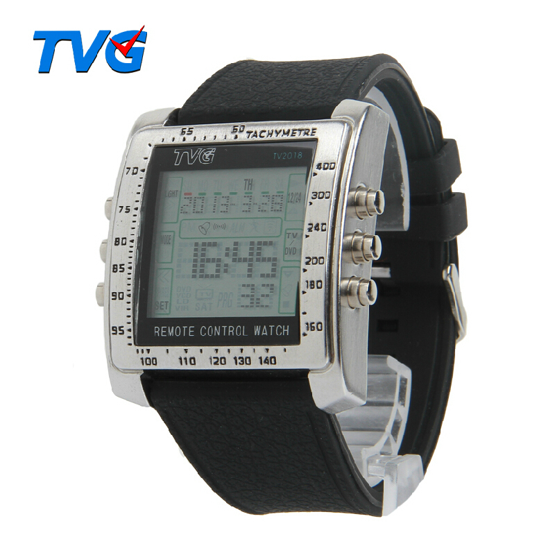 TVG Remote Control Alarm TV DVD Remote Military Watch For Men Digital Stainless Steel Case Rubber Strap Sports Watches