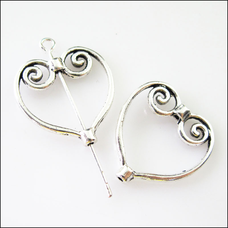 15Pcs Tibetan Silver Heart Circle Spacer Frame Beads Charms 19.5x20.5mm circle