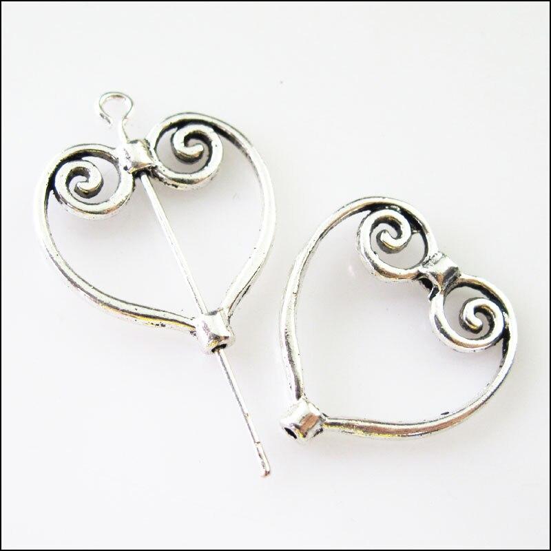 10 Pcs Tibetischen Silber Herz Kreis Spacer Rahmen Perlen Charms 19,5x20,5mm Hohe Sicherheit