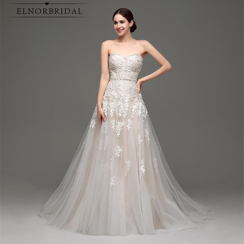 Affordable Wedding Gowns Online: Elnorbridal Real Photo Champagne Wedding Dress 2019