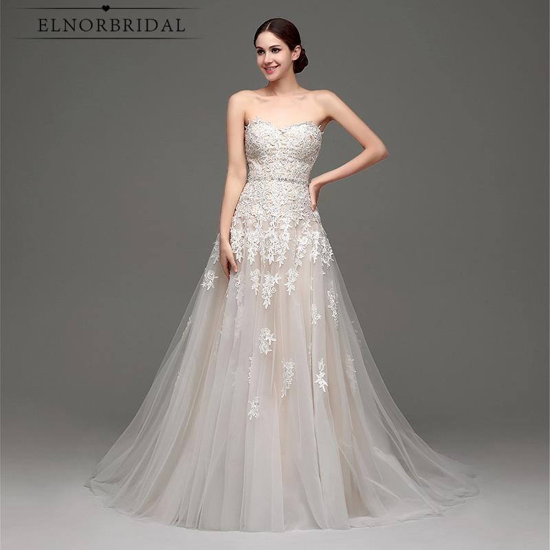 US $130.38 18% OFF|Elnorbridal Real Photo Champagne Wedding Dress 2019  Vestidos Novia A Line Corset Back Plus Size Bridal Gowns Shop Online  China-in ...