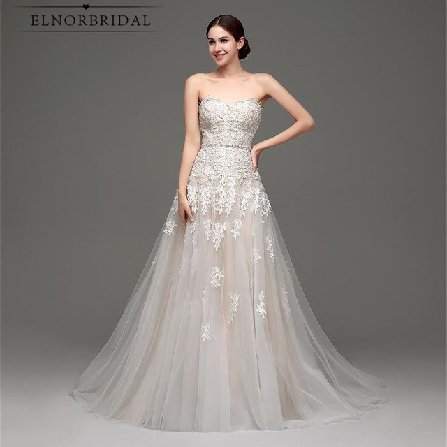 Elnorbridal foto real Champagne vestido de novia 2018 vestidos novia ...