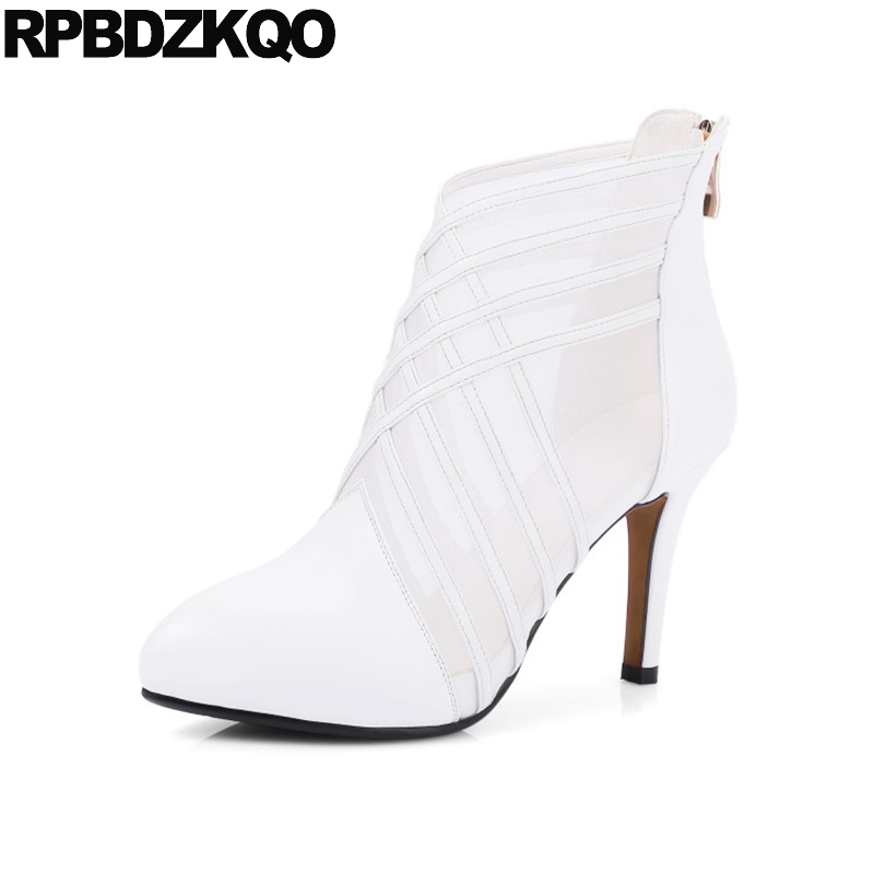 Women Sandals 2017 Stiletto Booties White Wedding Boots Genuine Leather  Pointed Toe Elegant Bridal Mesh High Heel Blue Shoes-in Ankle Boots from  Shoes on ... 940c6fe0e3a8