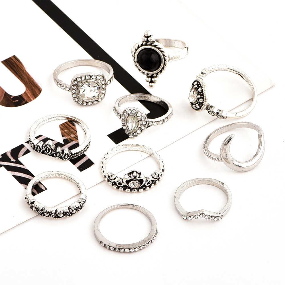10 ชิ้น/เซ็ต Bohemian Retro อัญมณีมงกุฎคริสตัลหัวใจดวงจันทร์คลื่นเงินชุดแหวนผู้หญิงเครื่องประดับของขวัญ