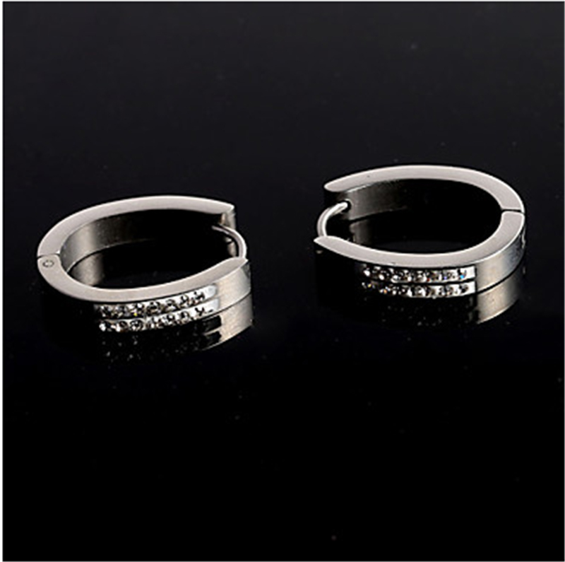 Fashion New Silver Double Wedding Party Daily Casual Stainless Steel Eearing Stud ...