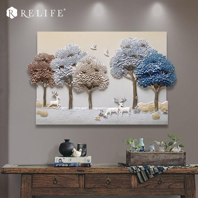 Rechteck Handgemalte Wandkunst Harz Baum Nordic Bilder Für Wohnzimmer Wand  50*80 Cm