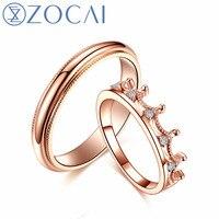 ZOCAI Brand Wedding Couple Diamond Ring Men ring 0.005 CT Women Ring 0.06 CT Real certificated diamond rings JBQ00386AB