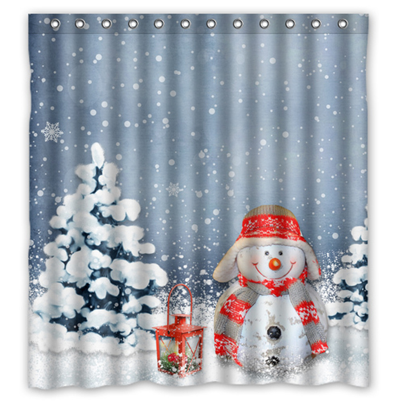 Christmas snowman custom made unique bath waterproof for Unique shower curtains cheap