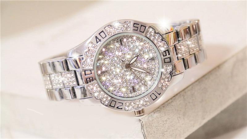 Dress Women Watches Stylish Crystal Rhinestones Quartz Wristwatch Lady Party Bracelet Bangle Relogio Casual Watch Ladies Watch 2