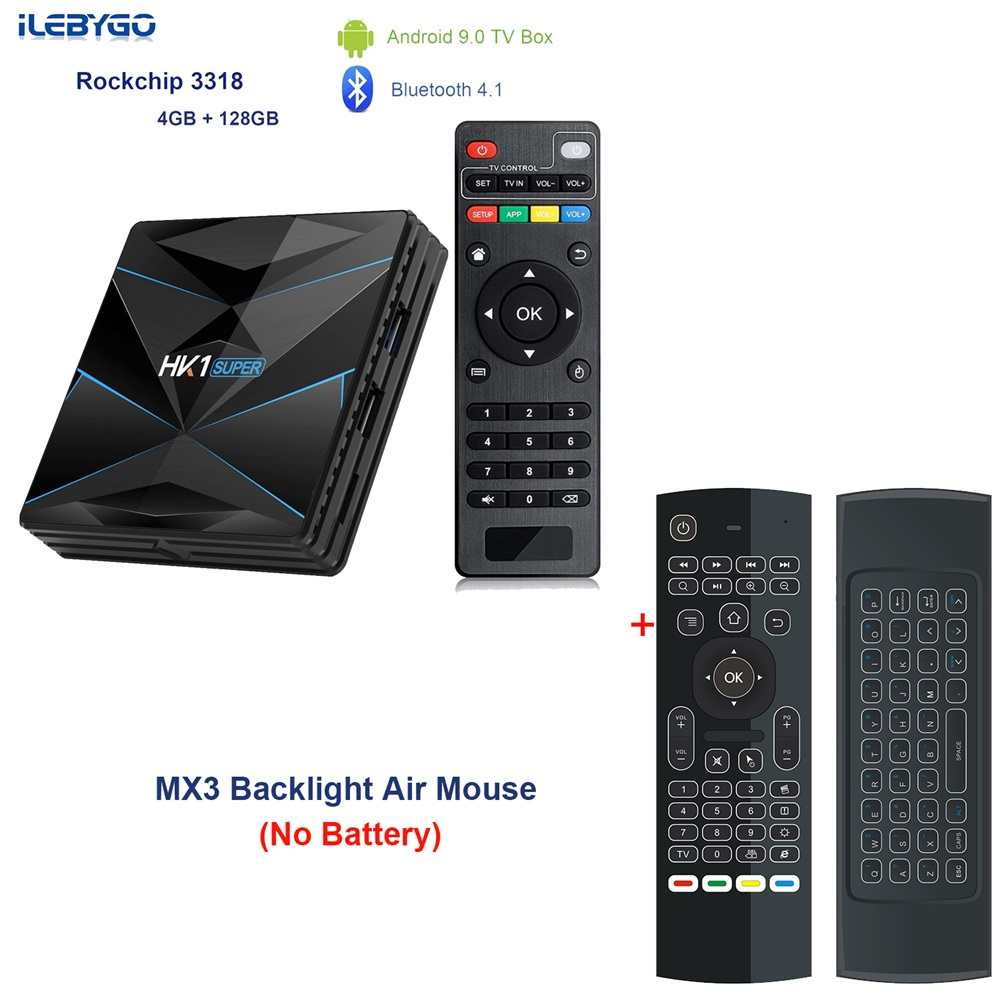 Android 9.0 TV BOX HK1 Super Rockchip RK3318 Set Top Box 4GB RAM 128G ROM USB 3.0 2.4G/5G Dual WIFI BT4.1 HDR 4K 3D Media Player