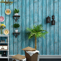 beibehang Retro nostalgic old wall paper antique wood bar personality fashion clothing store barber shop flooring wood wallpaper
