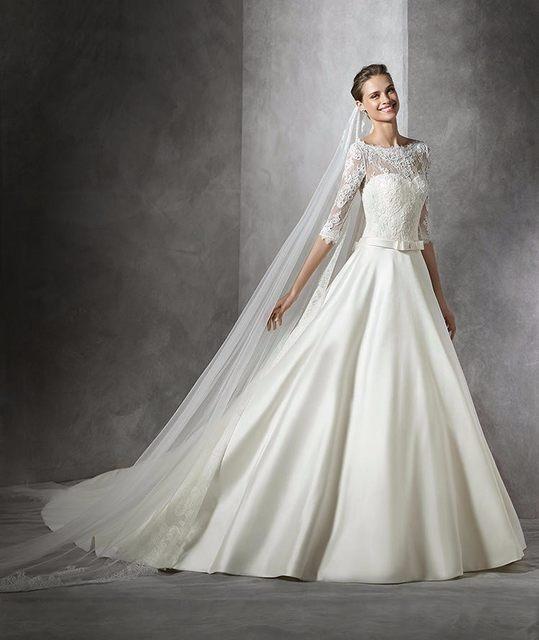 ff47e94d4fcef Hot sale onling shop vestidos de novia elegant bride dress o neck formal  long sleeves bridal gown white cheap wedding dresses