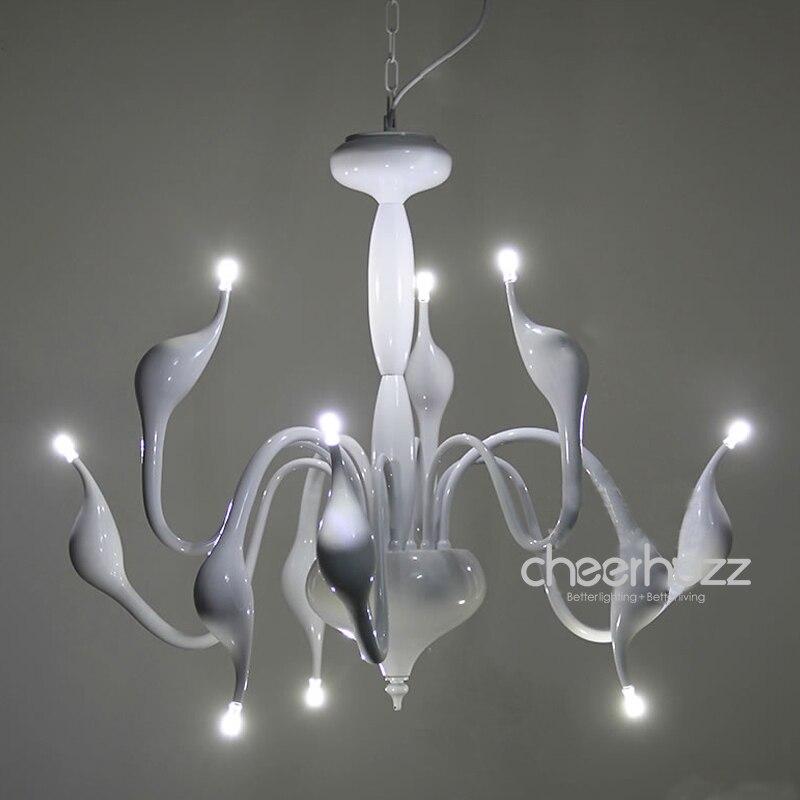 Новый современный LED лебедь люстра 9 огни установки лампы висит свет белый светильник lighing для Спальня столовая dp304