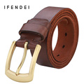 IFENDEI Copper Buckle Belt Men First Layer Of Leather Belt Men 's Genuine Leather Needle buckle Belts Business Wild Black Brown