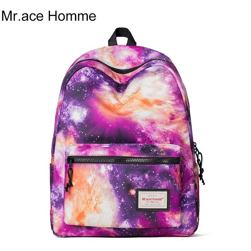 34deff01de39 Mr.ace Homme Anime Starry Sky Teen Mochila Feminina Printing Female Backpack  Women Cartoon Satchel Unisex School Bags for Girls-in Backpacks from  Luggage .