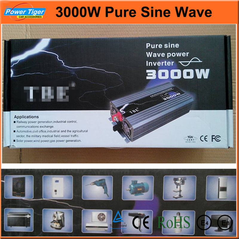 цена на High Quality 3000W Pure Sine Wave Power Inverter Car Auto 3kw Power Inverter For Boat House Bazaar Pure Sine Wave With Charger