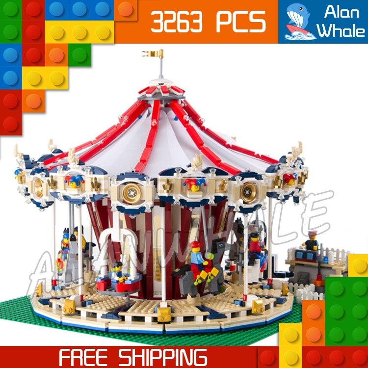 3263pcs Creator Amusement Park Carousel 15013 Model Building Blocks Toys Rzzle Whirligig Sound Brick Music Compatible with Lego amusement park large particle building