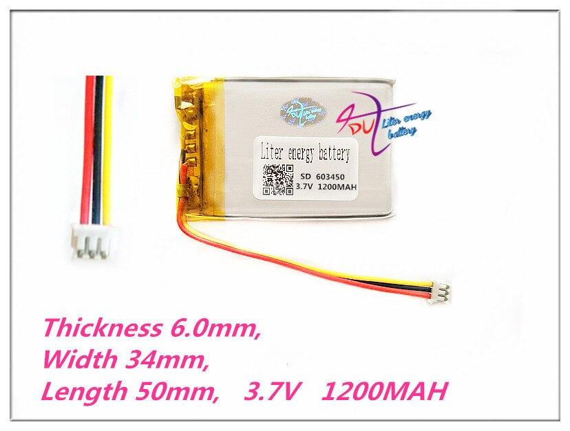 3 thread 603450 3.7V 1200mAh Rechargeable li Polymer Li-ion Battery For G403 G900 MP3 MP4 MP5 DVD DVR GPS Speaker Toys ultrafire 14500 1200mah 3 7v rechargeable li ion battery blue 2 pcs
