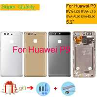 ORIGINAL 5,2 para Huawei P9 EVA-L09 EVA-L19 EVA-L29 de la vivienda de la cubierta de la batería vidrio puerta trasera chasis Shell Replacement