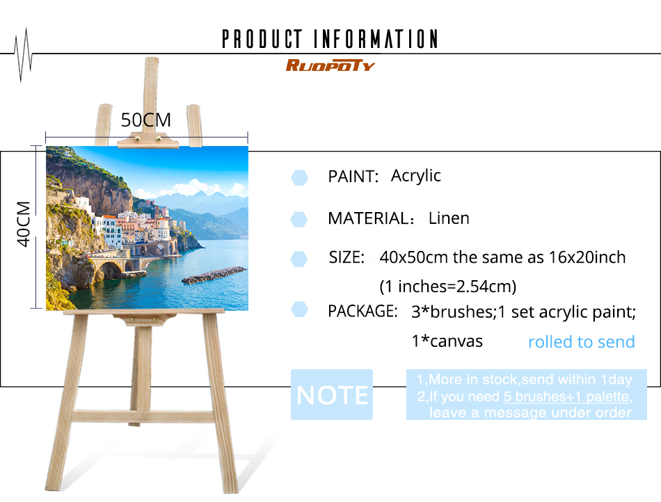 RUOPOTY Frame Diy Painting By Numbers Landscape Kit Acrylic Wall Art Picture By Numbers Canvas Painting For Home Decoration Arts