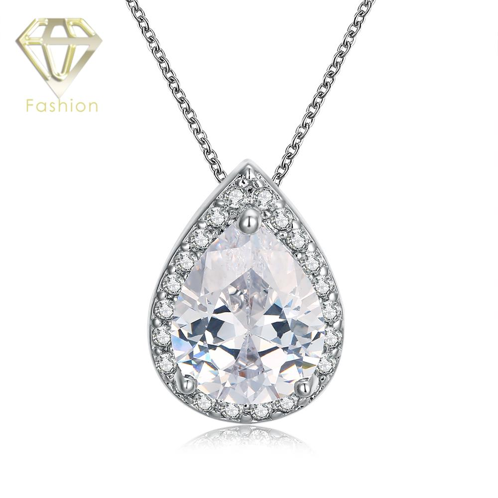 Water Drop Shape Inlaid Big Zircon Pendant Necklace with White Gold Color Chain Necklace Jewelry for Women Party Wedding Gift