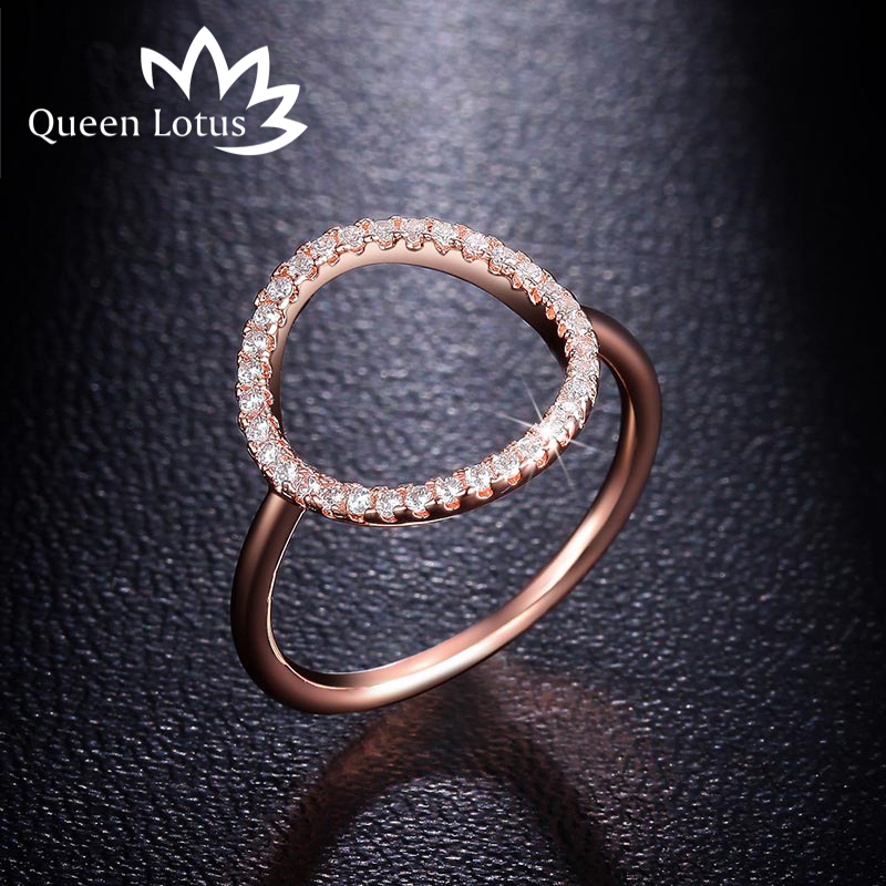 Queen Lotus New Simple Circle Shape Zircon Ring Fashion Female Jewelry Infinity Sign Women Rings for Party free Shipping