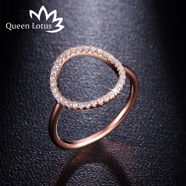Queen Lotus New Simple Circle Shape Zircon Ring Fashion Female Jewelry Infinity